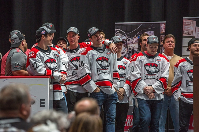 Charlotte Checkers players and coaches celebrate winning the 2019 Calder Cup Championship with their fans at Bojangles Coliseum.