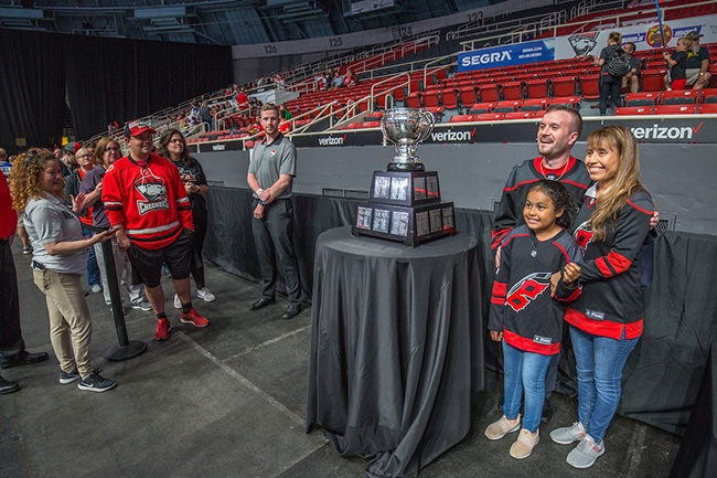 Fans had an opportunity to take their picture with the Calder Cup at Bojangles Coliseum as the Charlotte Checkers celebrate their win at the 2019 Calder Cup Championship.