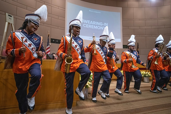 Vance High School marching band performs at Charlotte City Council swear-in ceremony.