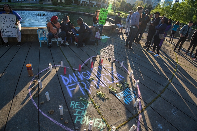 Protesters and mourners gathered in Marshall Park, Charlotte NC, in response to the release of CMPD body cam footage of police officer Wende Kerl shooting and killing Danquirs Franklin on March 25, 2019.