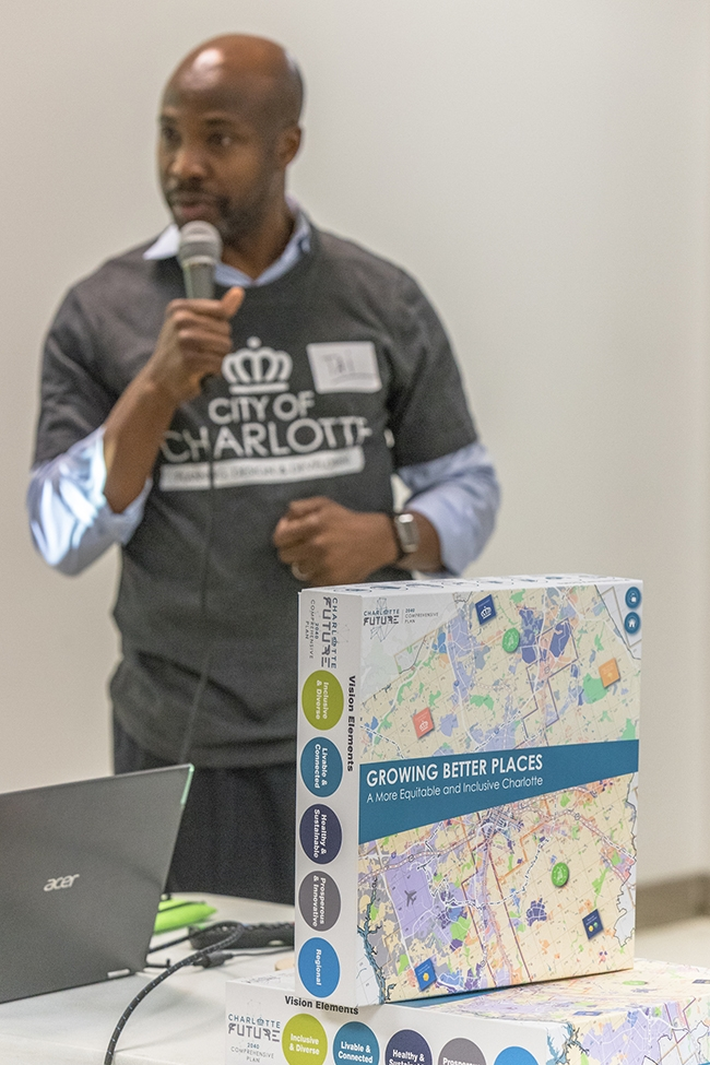 Charlotte City Planning Director Taiwo Jaiyeoba speaks at Potions & Pixels Gaming For Charlotte event at The Park Church on Beatties Ford Road.