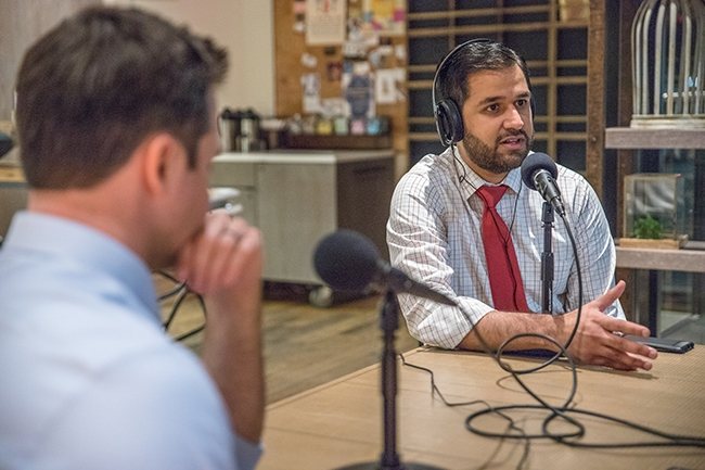 NC Senator Mujtaba Mohammed (right) joins Queen City Nerve for a special on-location recording of Nooze Hounds, at Coco And The Director Coffee & Co-Lab.
